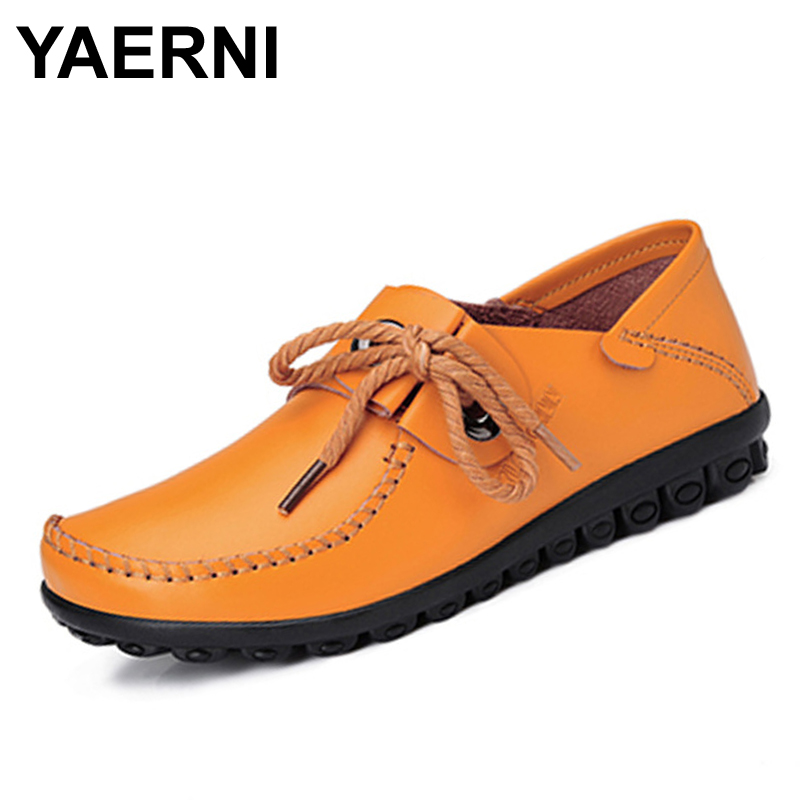 YAERNI   Casual Shoes Women Breathable Sport Walking Leather Shoes Women Lace Up Flats Loafers Zapatos Mujer Leisure shoes keloch new men casual shoes fly weave mesh breathable lace up air cushion sport basket flat shoes lovers trainers zapatos mujer