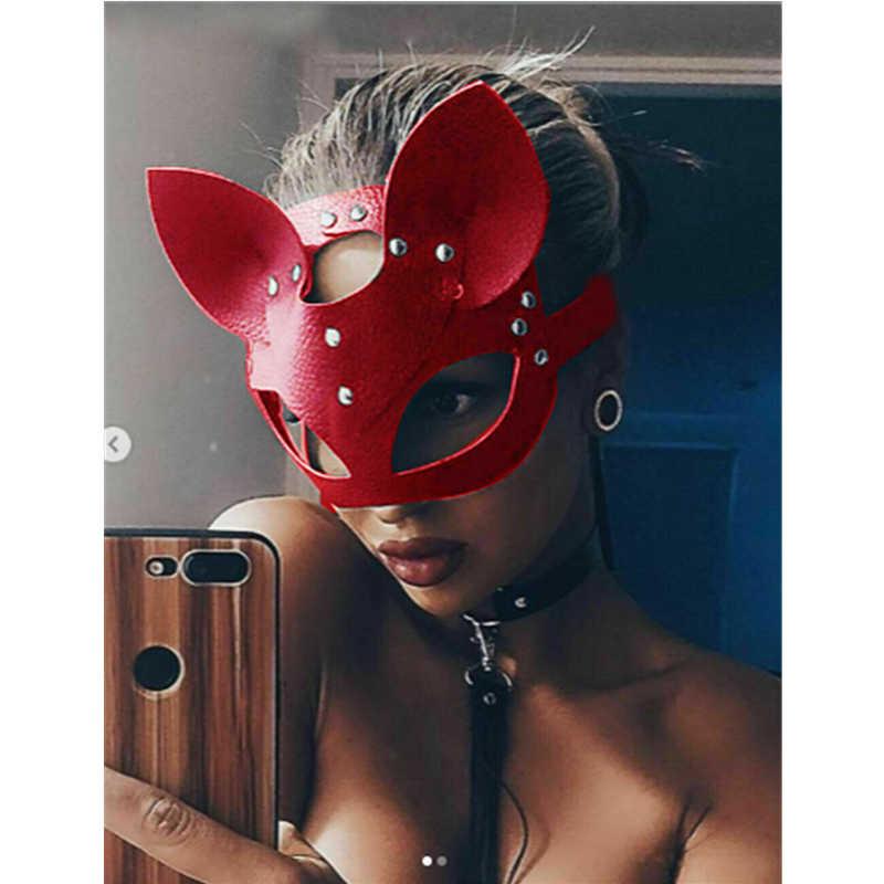 Сексуальная маска для косплея кошки для женщин и девочек, карнавальный костюм, ПВХ маски для связывания, для взрослых, для игр, специальные кошачьи уши, регулируемый дизайн, маски черного и красного цвета