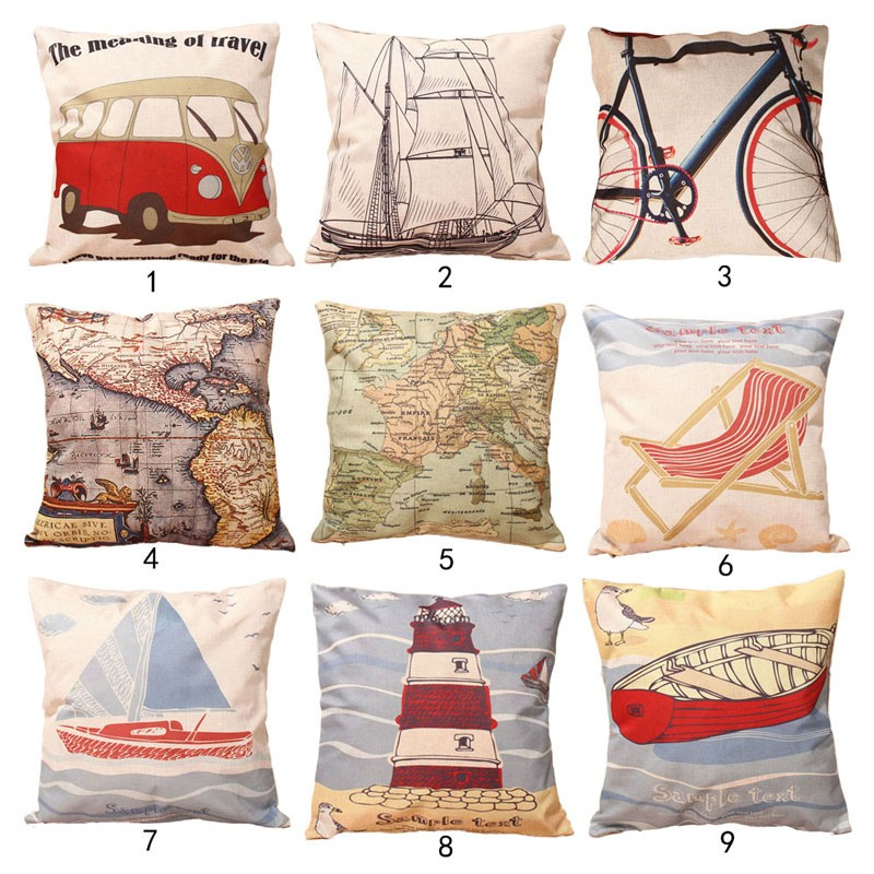 Map Boat Bicycle Printed Cotton Linen Pillow Case Bus Italy Style Cushion Cover Home Decorative Cushion Covers 43cmX43cm