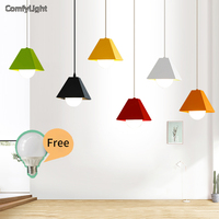 Colorful Iron Led Pendant Lamp Modern Vintage Bar Restaurant Bedrooms Villa Hanging Lamps E27 Holder Luces