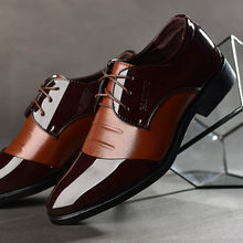 Business Men Dress Shoes Patent Leather Oxford Shoes Male Formal Shoes Big Size 38-48 Handsome Men Pointed Toe Shoes for Wedding(China)