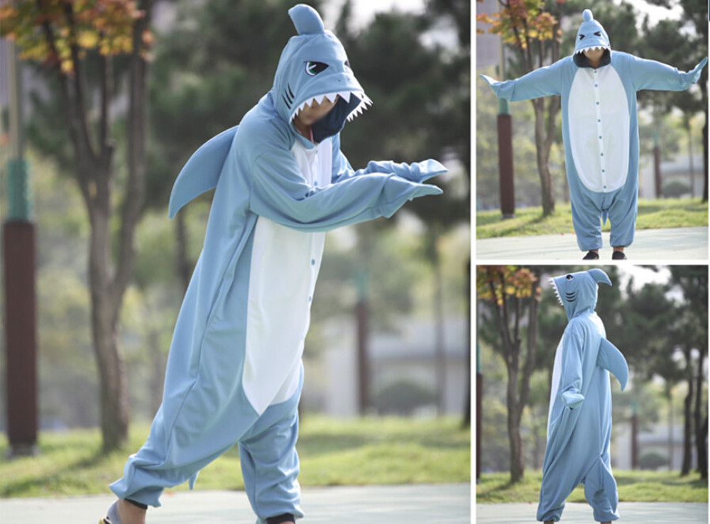 New Animal Pajamas Women Costumes New Shark Onesies Men Pyjamas Costumes Cartoon Sleepsuit Sleepwear