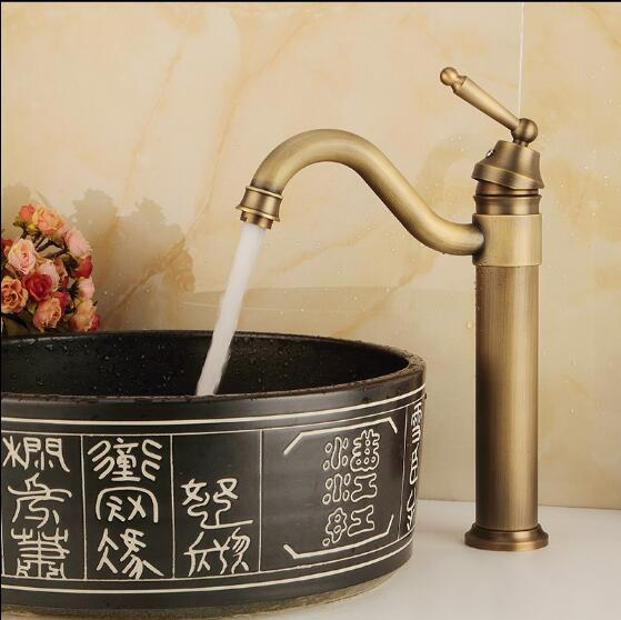 Free Shipping High Arch New Deck Bathroom Basin Sink Mixer Tap Polished Antique Bronze Basin Faucet
