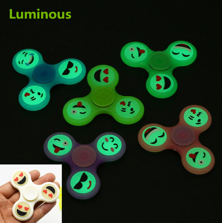 Cute Luminous EDC Smile Face Hand Spinner Emoji Fidget Glow For Autism and ADHD Relief Focus