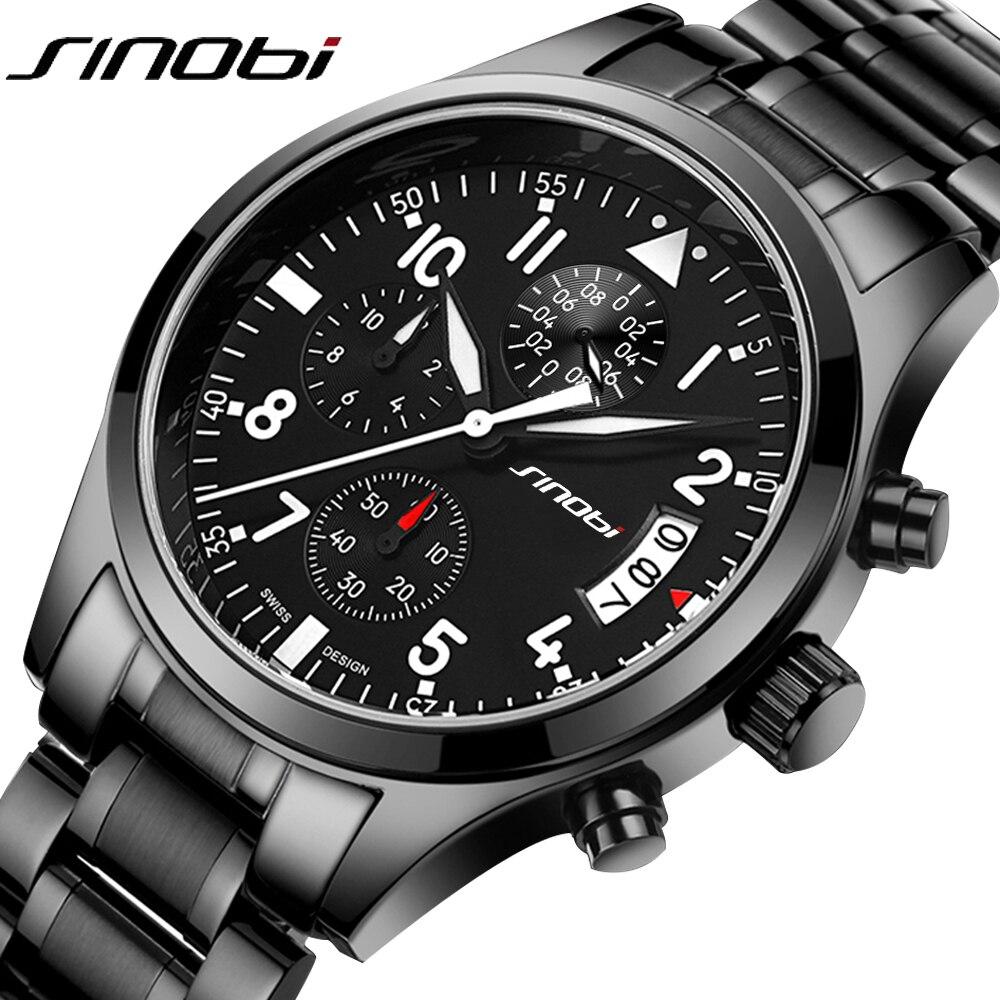 Prix pour SINOBI Sport Multifonction Quartz de Montre Hommes Top Marque De Luxe En Acier Inoxydable Bande Horloge Mâle Chronographe Horloge Garçon Montre-Bracelet