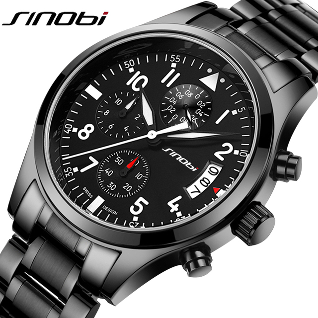 SINOBI Sports Multifunction Quartz Watch Men's Top Luxury Brand Stainless Steel Band Clock Male Chronograph Clock Boy Wristwatch