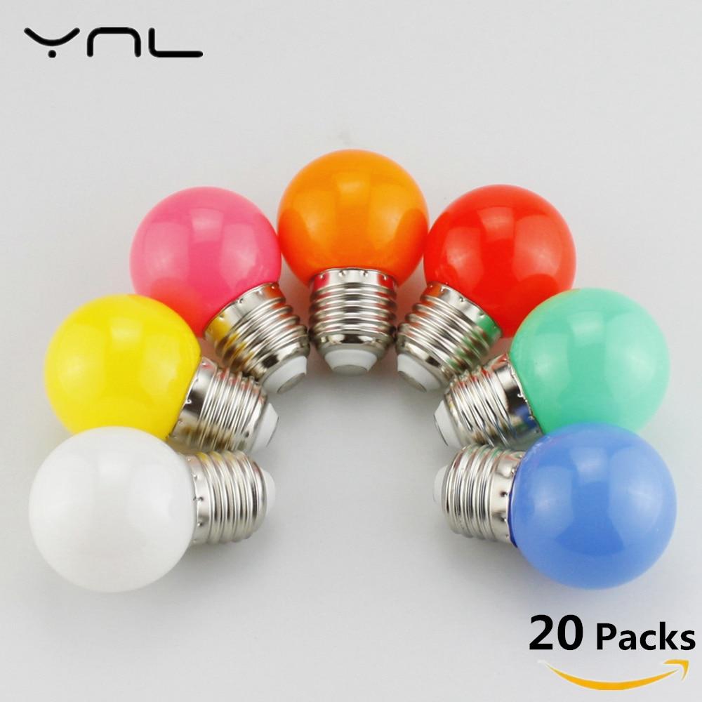 цена на 20pcs Bombillas E27 LED Bulb 220V G45 Colorful Lampada RGB LED Light SMD 2835 Colorful bulbs flashlight Lamparas LED Lamp