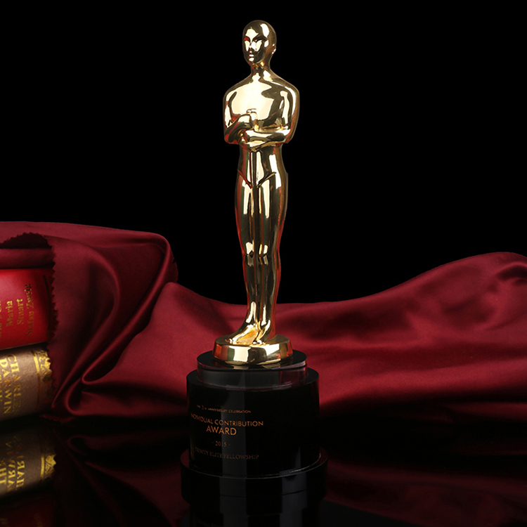 Oscar metal trophy custom crystal trophies MEDALS company annual year-end awards competition activities metal trophy with a crystal earth international competition award cup oscar trophy golden ball award