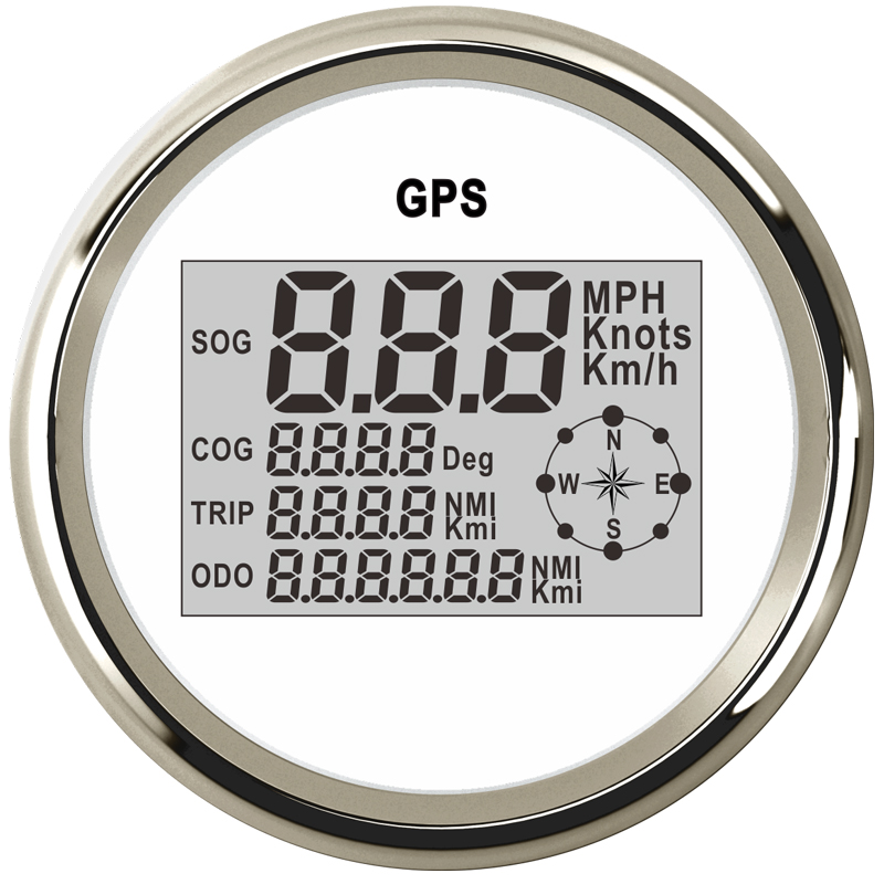 Car Boat 85mm Digital GPS Speedometer Odometer 0-999 knots km/h mph 12V/24V with Backlight for Motorcycle Yacht Vessel Vehicle 100% brand new gps speedometer 60knots for auto boat with gps antenna white color