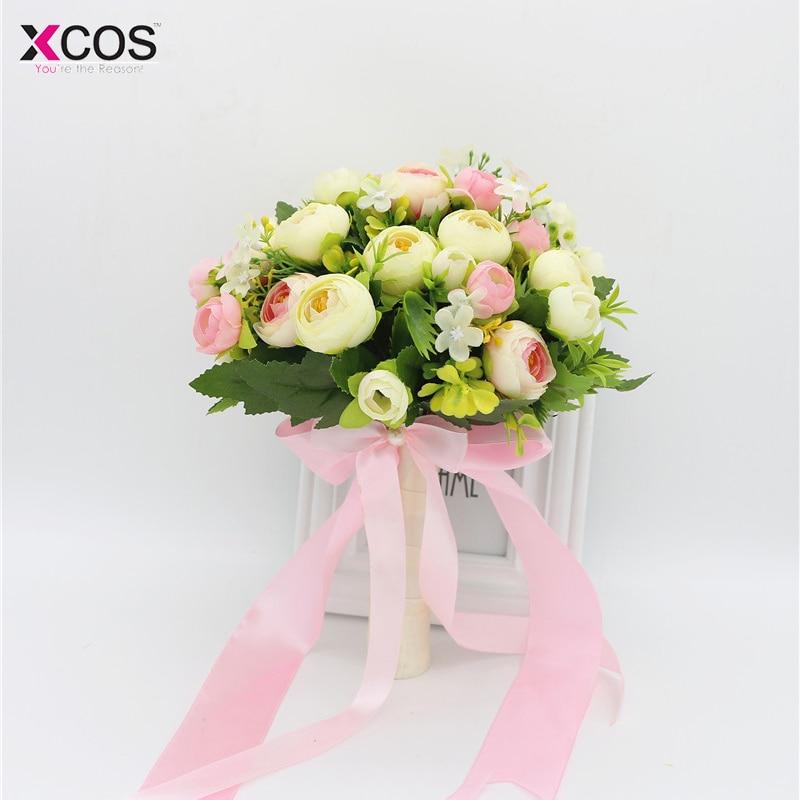 GemäßIgt 2018 Hohe Qualität Pink Ivory Rose Blume Brautstrauß Für Hochzeitsdekoration Brautjungfer Bouquet De Mariage