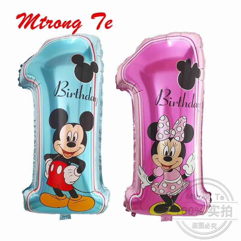 50 sztuk Mickey Minnie numer 1 urodziny balony folia helem z okazji urodzin dekoracje ślubne Globos Baby Shower zaopatrzenie firm w Balony i akcesoria od Dom i ogród na  Grupa 1