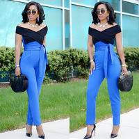 Black Blue Patchwork Long Jumpsuits Fashion Elegant Woman Off The Shoulder Fitting Rompers Female All Oversuit With Sashes B9102