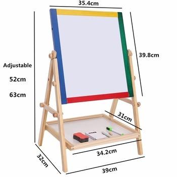 Drawing Board Educational Toy For Children Adjustable Children Kids 2 In 1 Black / White Wooden Easel Chalk 1