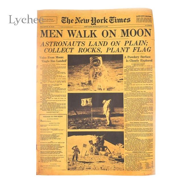 Lichia Projeto Apollo Momento Histórico Do New York Times Jornais Antigos  Kraft Papel Adesivo De Parede