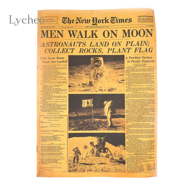 lychee new york times apollo project historic moment old newspapers kraft wall sticker paper poster home - New York Times Home And Garden
