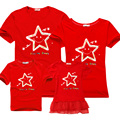 Familia ropa a juego 2016 de algodón de verano de manga Corta t-shirt madre e hija familia juego trajes mamá me hijo mira