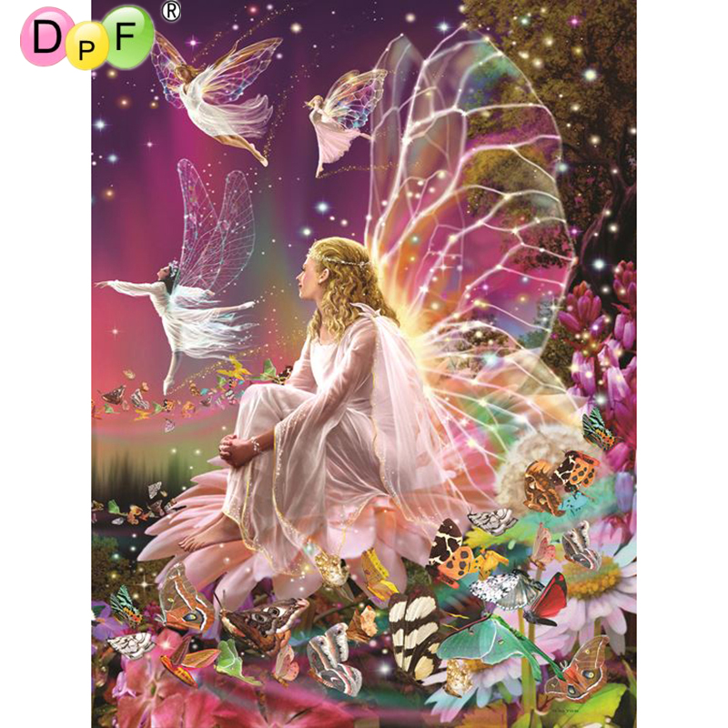DPF DIY 100% Full 5D Diy Daimond Painting Cross-switch Wings Elf Diamond Painting Full Square Rhinestones Painting Embroidery