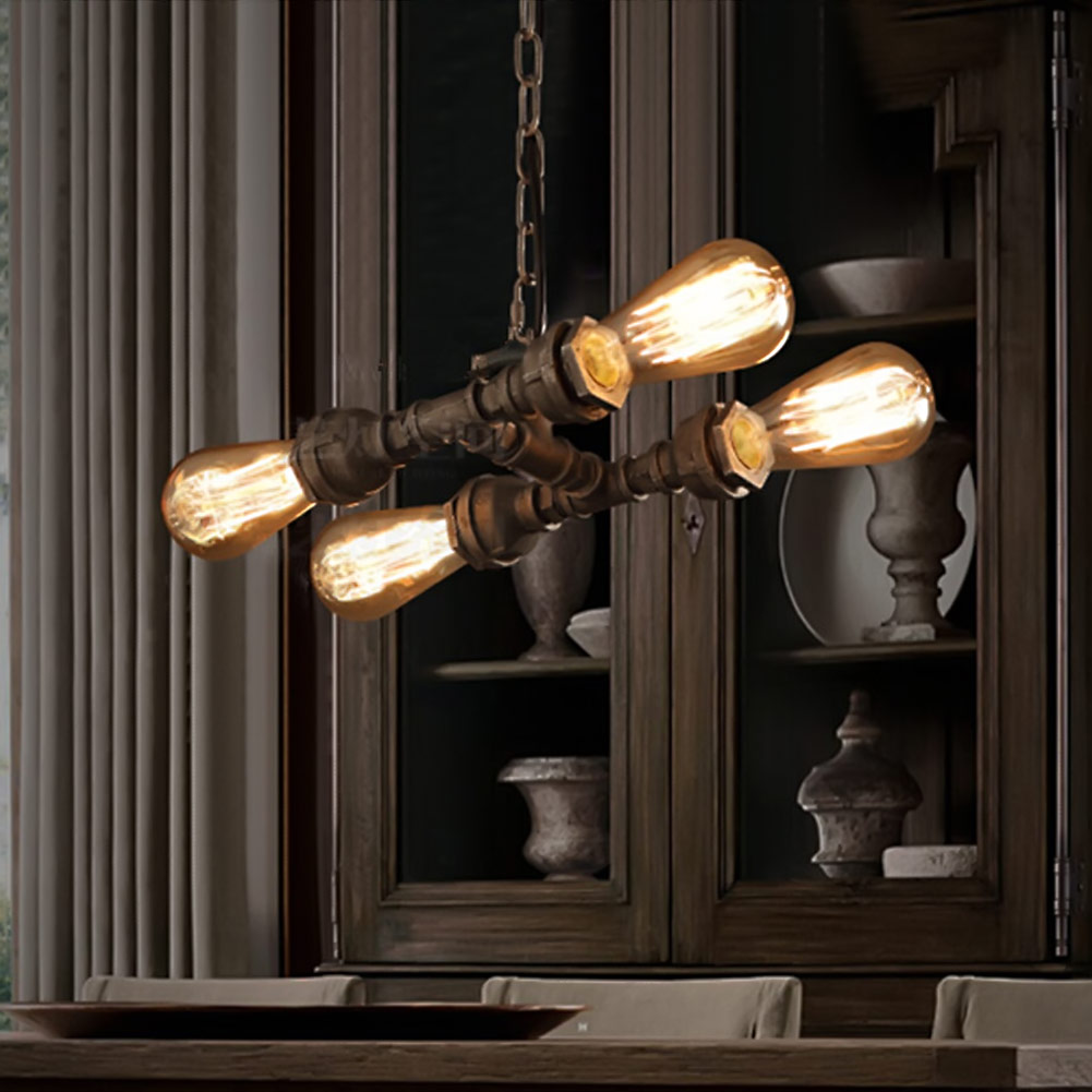loft industrial iron water pipe vintage pendant lamp cord e2