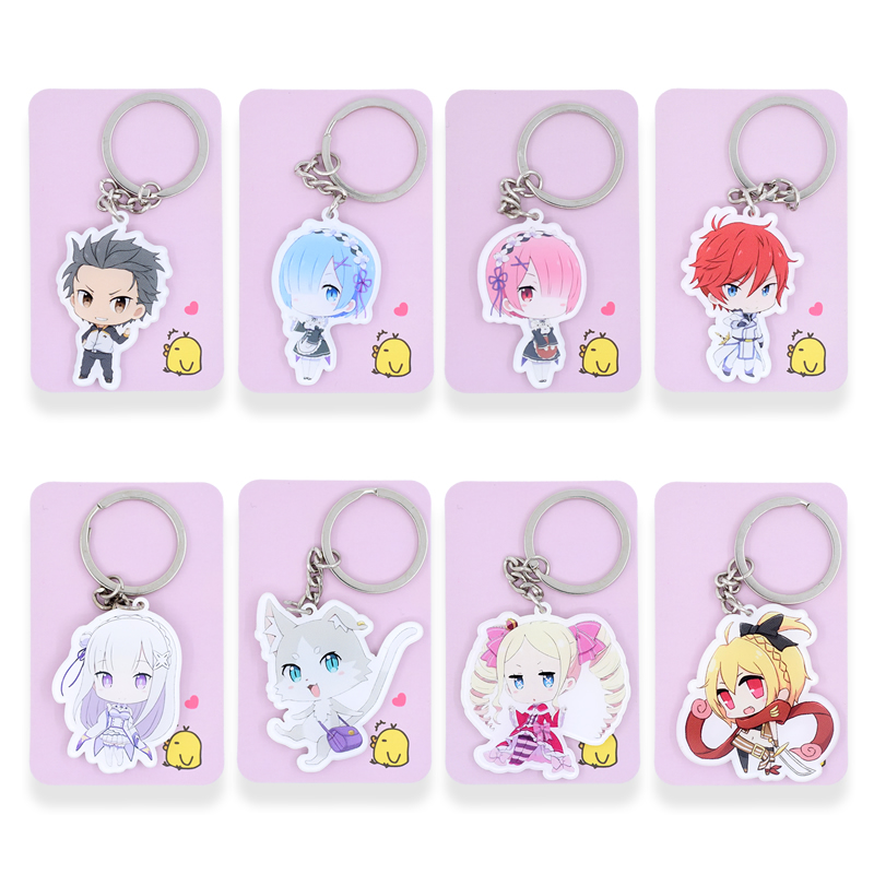цена на 12 Styles Re Zero Keychain Keyrings Ram/Rem Fashion Jewelry Key Chains Re Life In a Different Wor made Anime PSS192-209