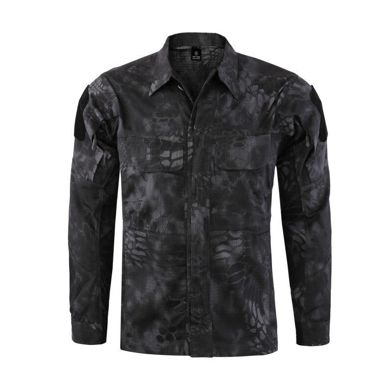 Полевая Боевая тренировочная тактическая рубашка Мужская Уличная походная клетчатая ткань износостойкая камуфляжная дышащая Военная Рубашка - Цвет: Black Python