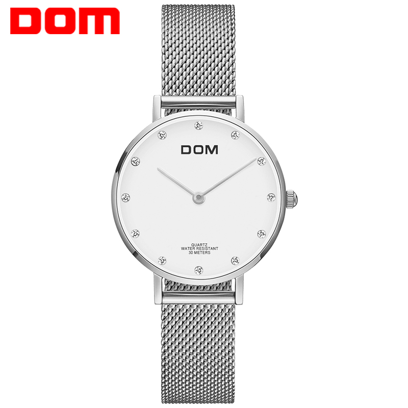 Watch Women DOM Top Brand Luxury Quartz Wrist Watch Casual Steel Mesh Belt Ultra Thin Women Waterproof Watch Clock G-36D-7M