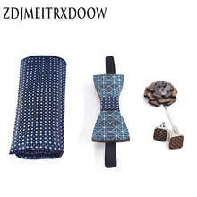 ZDJMEITRXDOOW Wood Bow Ties for Mens Wedding Suits Printing Wooden Tie Butterfly Shape Cufflink Bowknots Set