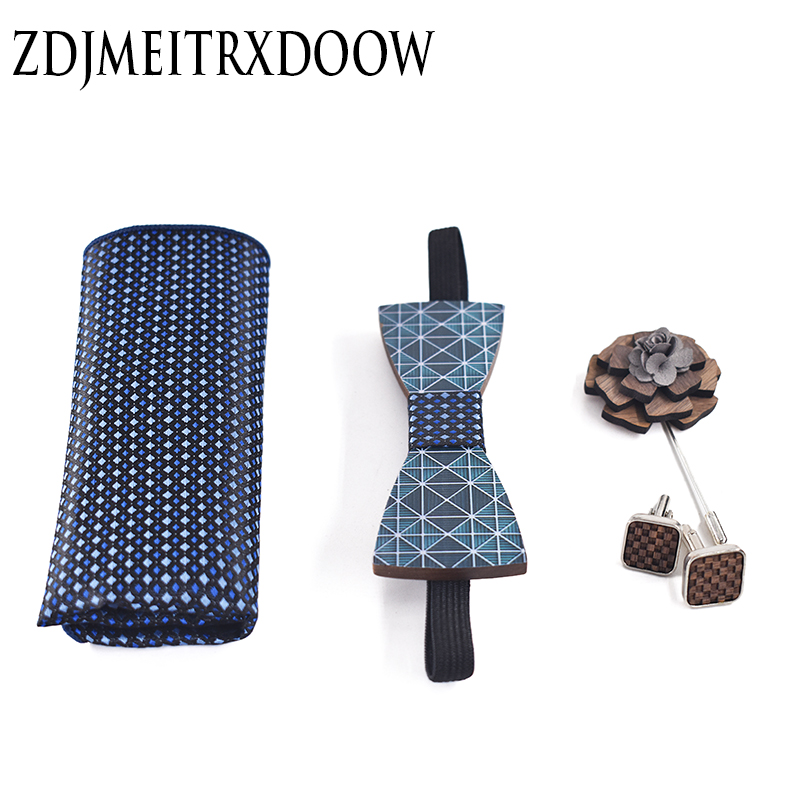 ZDJMEITRXDOOW Wood Bow Ties for Mens Wedding Suits Printing Wooden Bow Tie Butterfly Shape Cufflink Bowknots Set