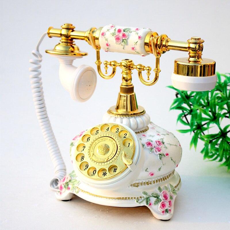 European antique landline rotary dial retro cute fashion telephone Decoration home art rustic phone backlit household