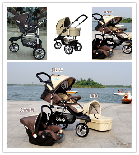 Loading 25kg Baby Pushchair 3 In 1 5 Point Harness With Bassinet + ...
