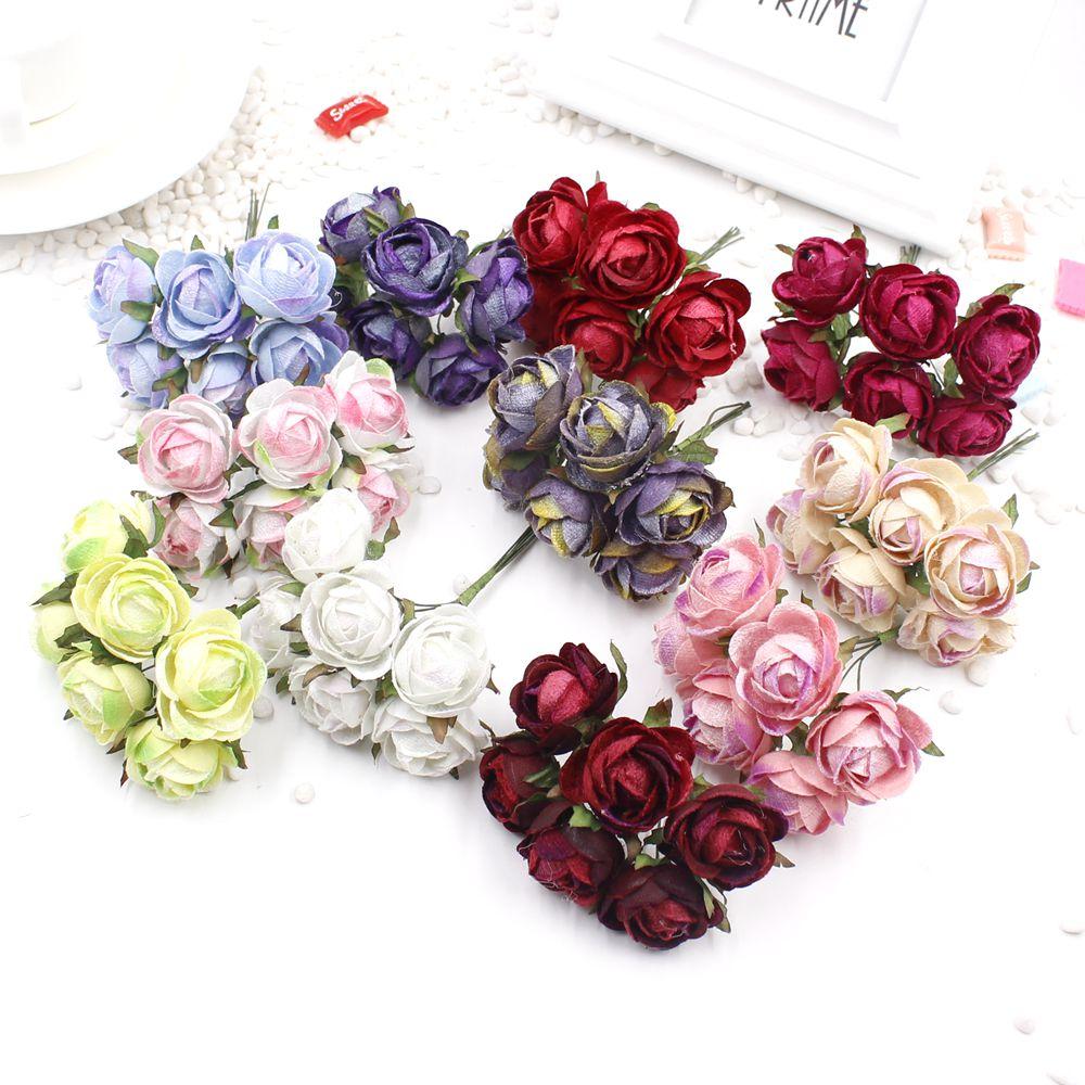 6 unidades / lote de flores de seda artificial flor vestido de novia corona de la boda decoración del coche decoración de primavera