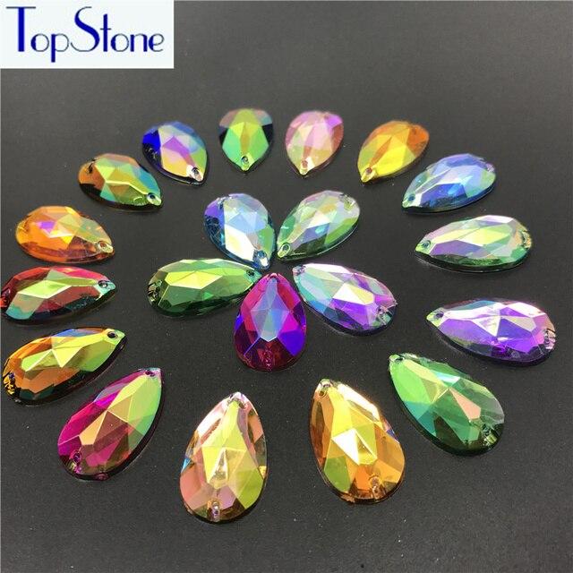 17x28mm 50pcs AB Colors Teardrop Droplet Pear Shape Acrylic Sew On  Rhinestones Flatback Sewing Stones Garments 47664895d3e1