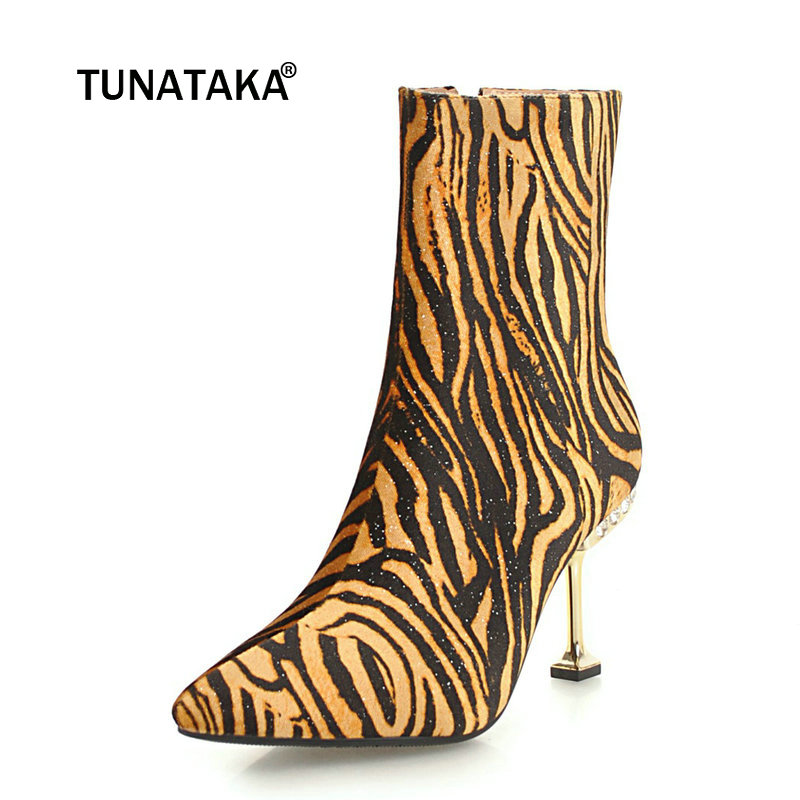 Women Suede Sexy Leopard Thin High Heel Ankle Boots Fashion Zipper Boots Female Crystal Pointed Toe Warm Winter Shoes Black Red