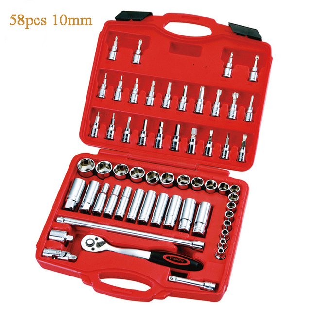 """58pcs/set Combination of machine tools 3/8"""" 10mm series of metric sleeve tools socket wrench combination tool"""