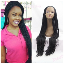 Stock glueless twist braided lace front synthetic wigs micro braids wig BLACK Senegalese twist wig for african and american