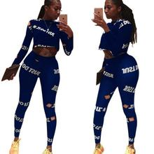 2020 Fashion woman tracksuit 2 pieces 3 colors printed long sleeve shirt women O neck sexy outfits c