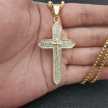 Religious Big Cross Pendant Necklace for Women/Men Gold Color Stainless Steel Crucifix Necklaces Male Christian Jewelry XL1136(China)