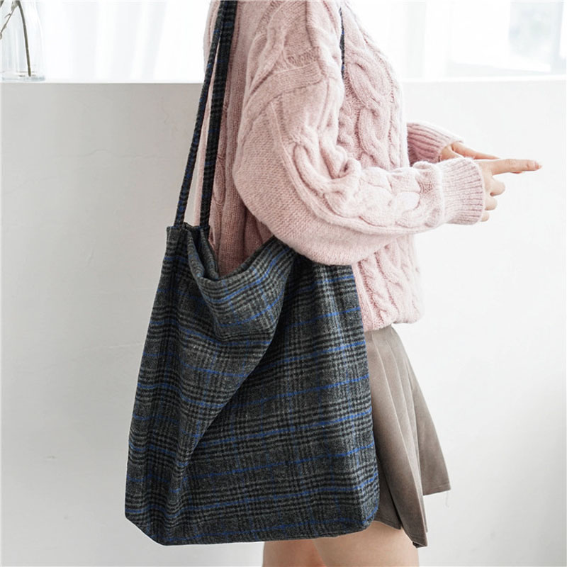 2019 Autumn & Winter Women Woolen Canvas Shoulder Bag Ladies Vintage Plaid Handbag Totes Female Cotton Wool Cloth Shopping Bags handbag