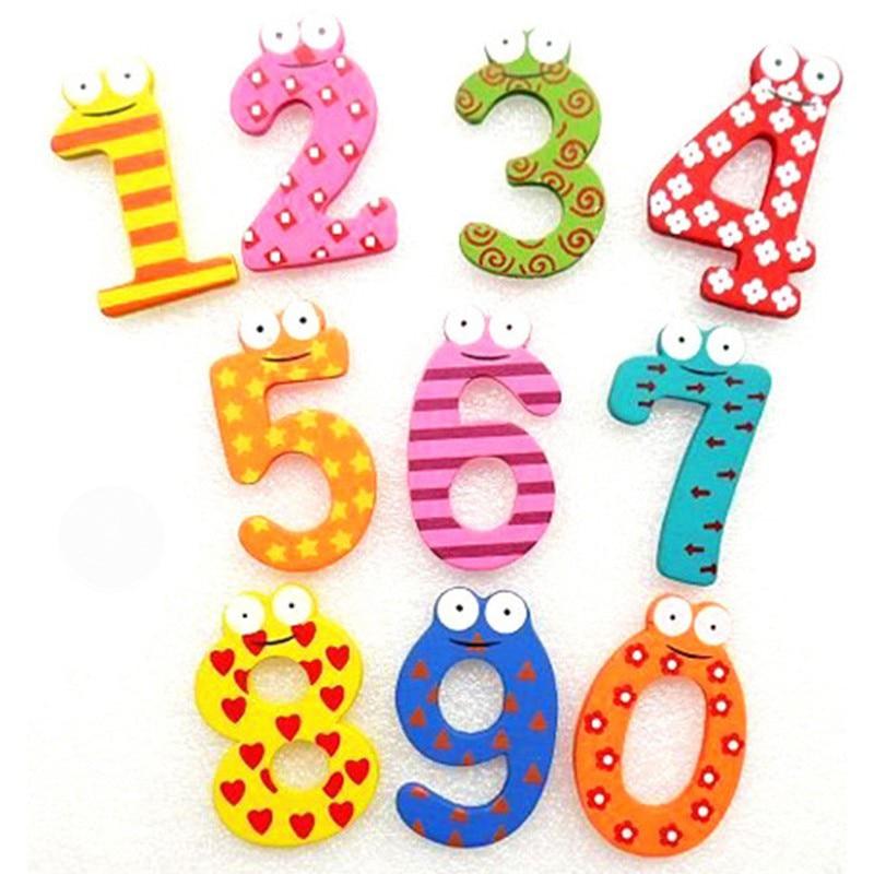 10pcs/set 10 Number Large Cartoon Educational Toy Wooden Fridge Magnet for Baby Kid Educational Toys