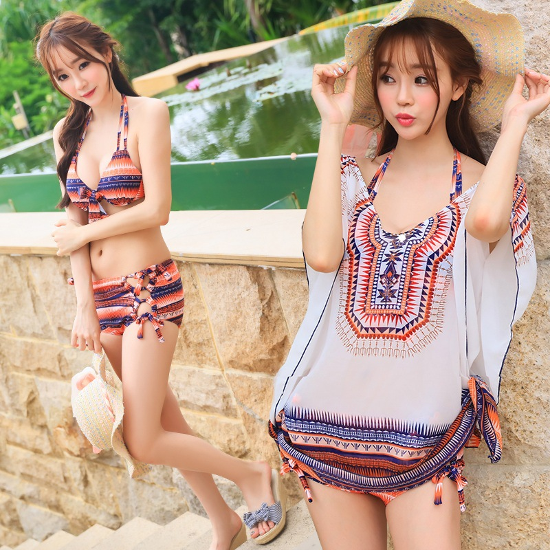 ФОТО STAR MENG Three piece Female Swimsuit Cover belly Blouse Size bikinis gathered a small chest conservative spa on behalf of