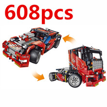 Compatible  car 608pcs Racing 2 in 1 Deformable Model Building Block Set Decool 3360 DIY Toy