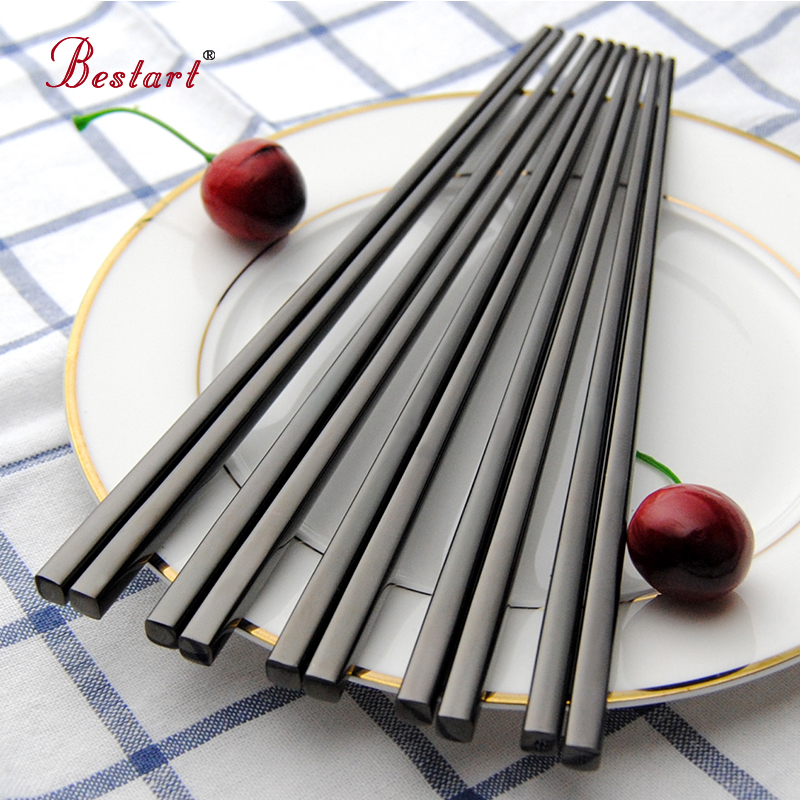5pairs Japanese Sumpit hashi Black 304 Stainless Steel Mirror Polish Square Chopstick Metal Food Chop Sticks Tableware Tools