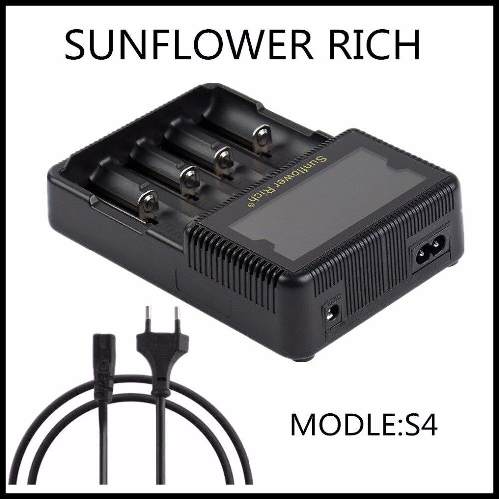 2017 new Sunflower RICH S4 LCD 18650 26650 AA AAA Li ion 20700 battery charger LI