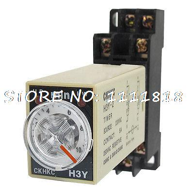 цена на AC 220V 8 Pins DPDT 0-10Min Timer Delay DIN Rail Time Relay H3Y-2 w Socket