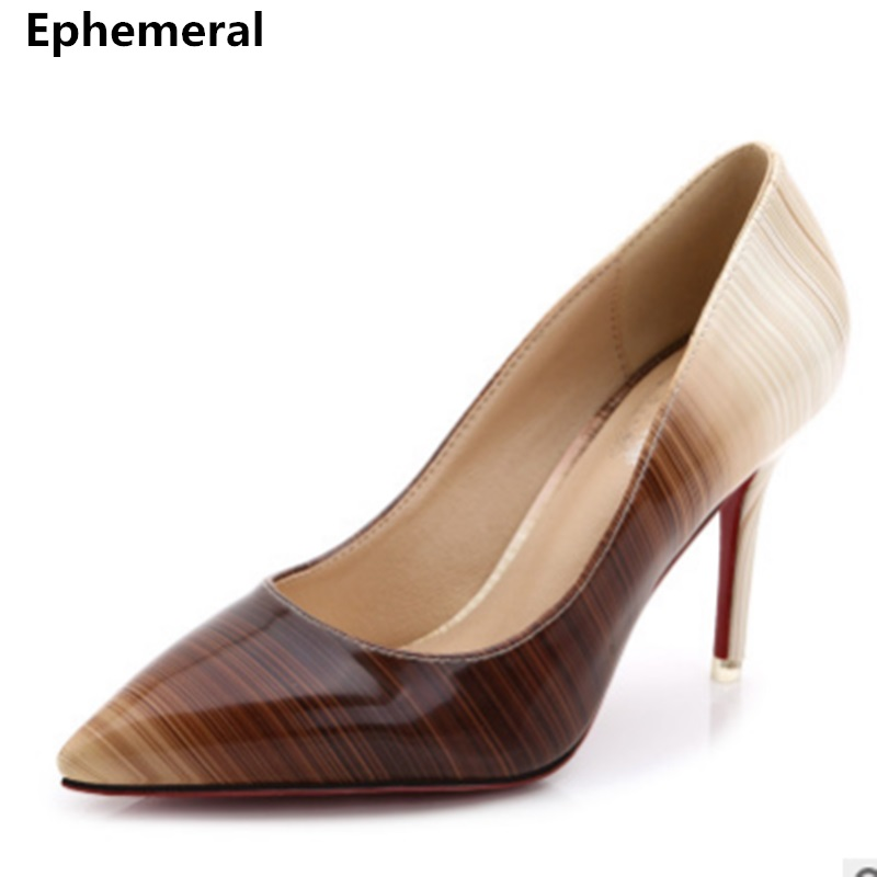 Women Shoes High Heels Zapatos Mujer Tacon Femeninos Wedding Party Pumps Pointed Toe Stiletto Green Red Coffee Plus Size 45 44 3