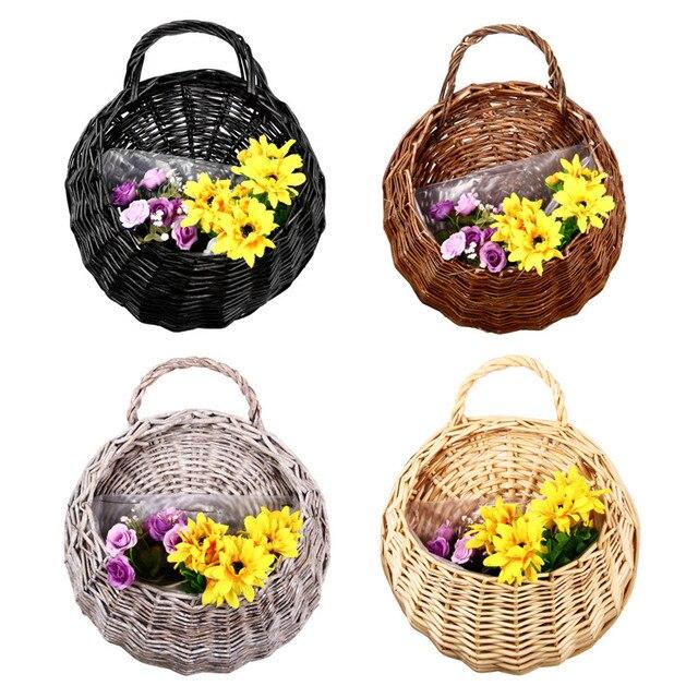 Wall Hanging Flowers Pot Planter Baskets L Wicker Rattan Flower Basket Vase Storage Container Home Garden