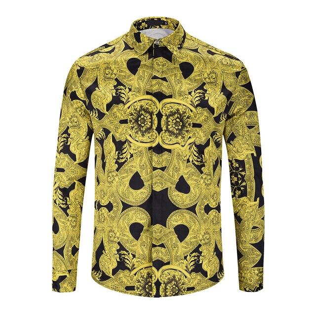 Ух для девочек брендовая рубашка 2018 новые модные Для мужчин с длинным рукавом в 3d Золото Медуза Цветочный принт Для мужчин эксклюзивная рубашки dropshiping