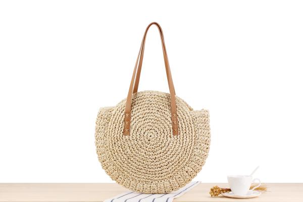 Round Straw Beach Bag Vintage Handmade Woven Shoulder Bag Raffia circle Rattan bags Bohemian Summer Vacation Casual Bags 3