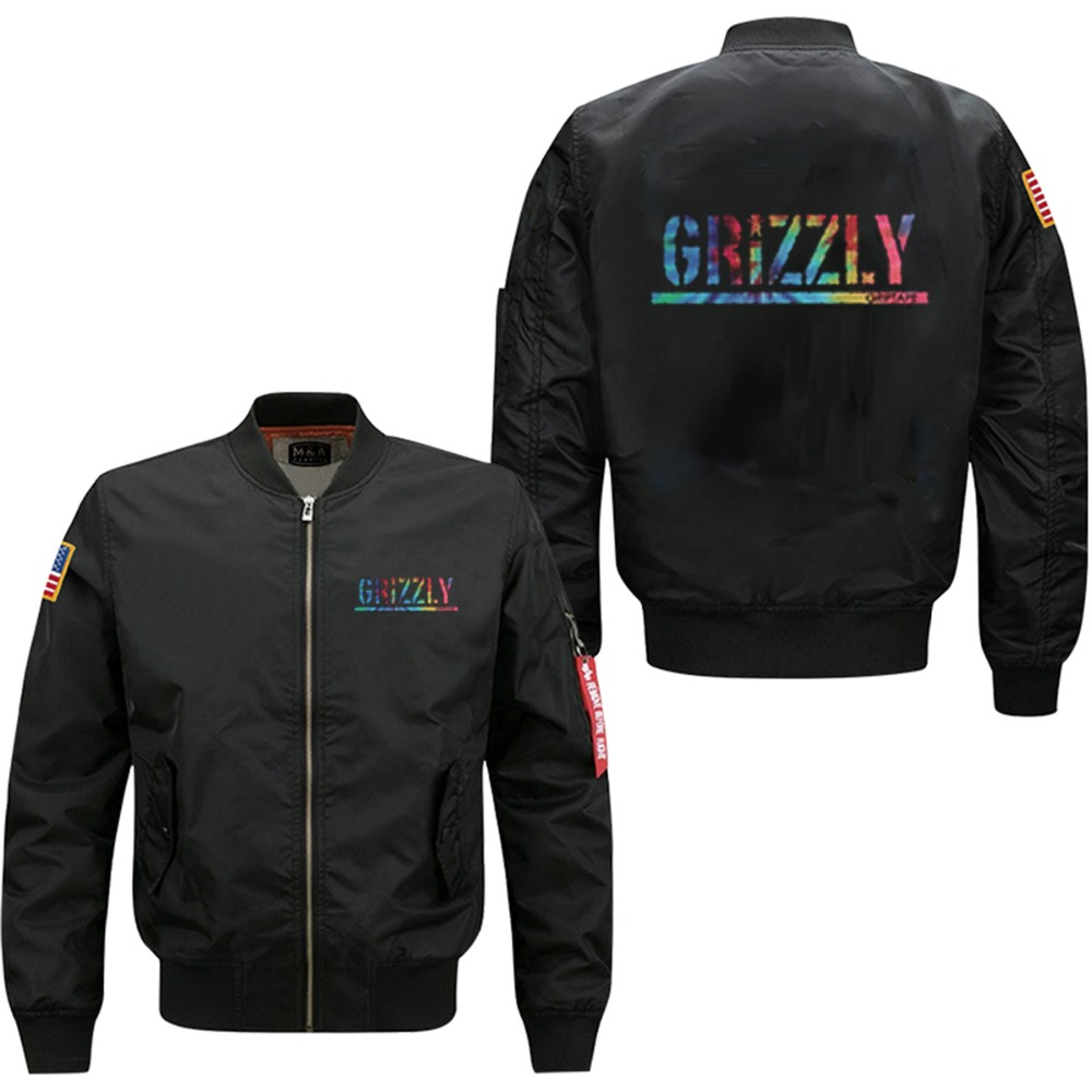 2018 new style USA size  GRIZZLY letter style men's flight jacket collar code Air Force pilots men's spring wind breaker jacket