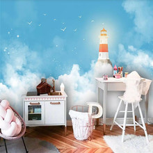 3d wallpaper modern blue sky lighthouse childrens room background wall custom large murals can be customized photo