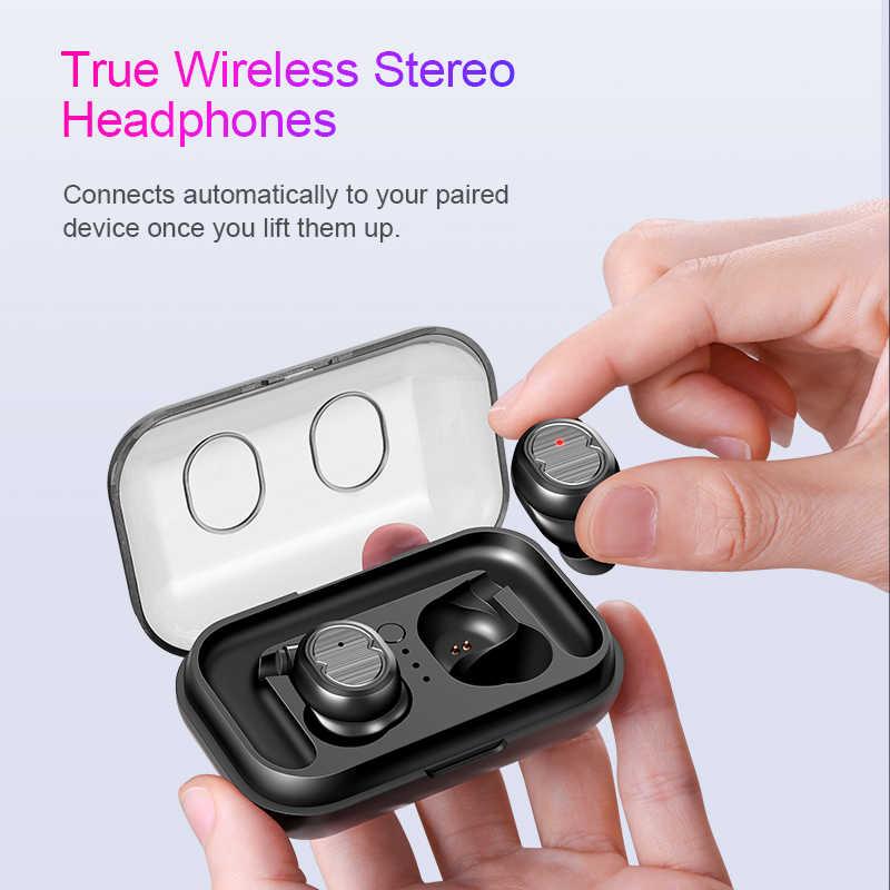 SANLEPUS イヤホン Bluetooth 5.0 TWS ヘッドホンミニ不可視 3D ハイファイステレオワイヤレスヘッドセットと電源銀行充電ボックス